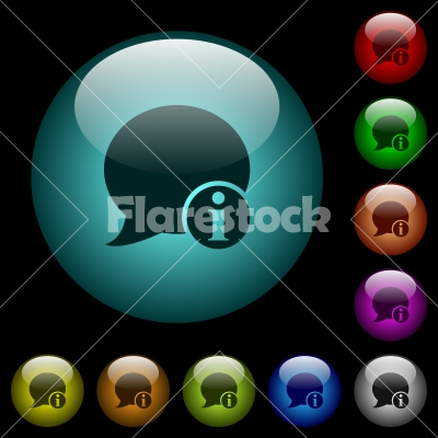 Blog comment info icons in color illuminated glass buttons - Blog comment info icons in color illuminated spherical glass buttons on black background. Can be used to black or dark templates