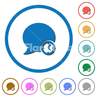 Blog comment time icons with shadows and outlines - Blog comment time flat color vector icons with shadows in round outlines on white background