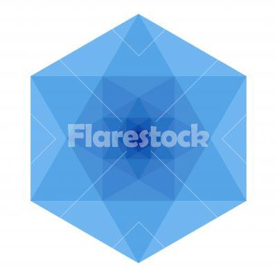 Blue Hexagon - Hexagon shaped diamond. Flat vector design, light blue variant.