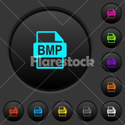BMP file format dark push buttons with color icons - BMP file format dark push buttons with vivid color icons on dark grey background