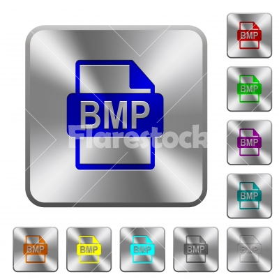 BMP file format rounded square steel buttons - BMP file format engraved icons on rounded square glossy steel buttons