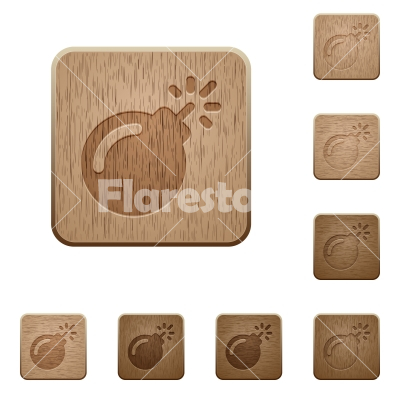 Bomb with sparkling fuse wooden buttons - Bomb with sparkling fuse on rounded square carved wooden button styles