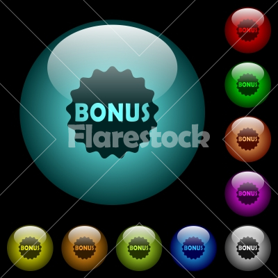 Bonus sticker icons in color illuminated glass buttons - Bonus sticker icons in color illuminated spherical glass buttons on black background. Can be used to black or dark templates