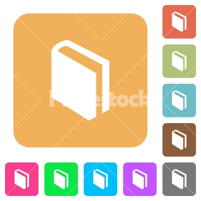 Book rounded square flat icons - Book icons on rounded square vivid color backgrounds.