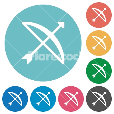 Bow with arrow flat round icons - Bow with arrow flat white icons on round color backgrounds