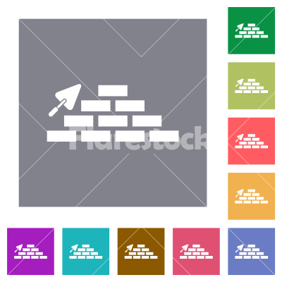 Brick wall and trowel square flat icons - Brick wall and trowel flat icons on simple color square backgrounds