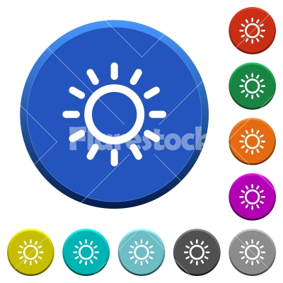 Brightness control beveled buttons - Brightness control round color beveled buttons with smooth surfaces and flat white icons