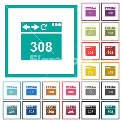 Browser 308 Permanent Redirect flat color icons with quadrant frames - Browser 308 Permanent Redirect flat color icons with quadrant frames on white background
