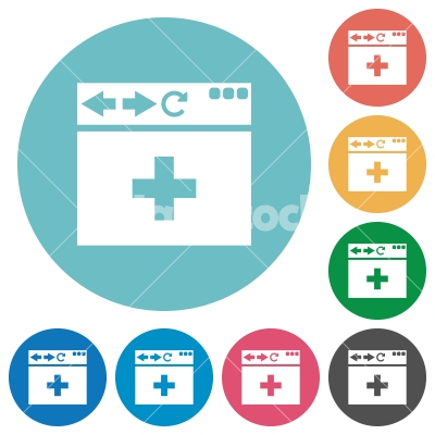 browser add new tab flat round icons - browser add new tab flat white icons on round color backgrounds