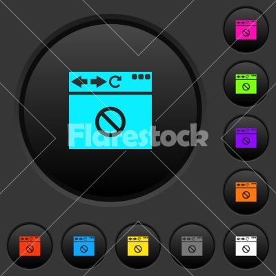 Browser disabled dark push buttons with color icons - Browser disabled dark push buttons with vivid color icons on dark grey background