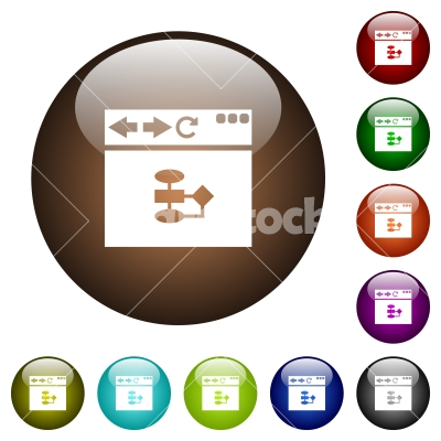 Browser flow chart color glass buttons - Browser flow chart white icons on round color glass buttons