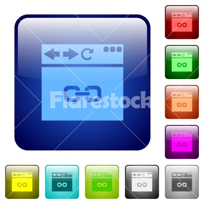Browser link color square buttons - Browser link icons in rounded square color glossy button set - Free stock vector