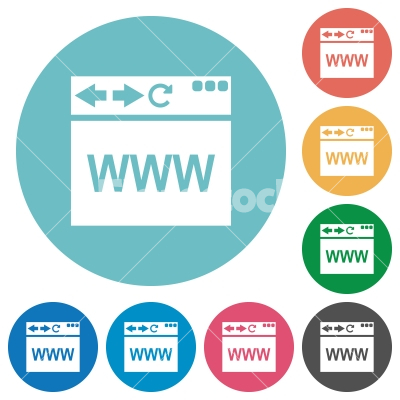 Browser webpage flat round icons - Browser webpage flat white icons on round color backgrounds