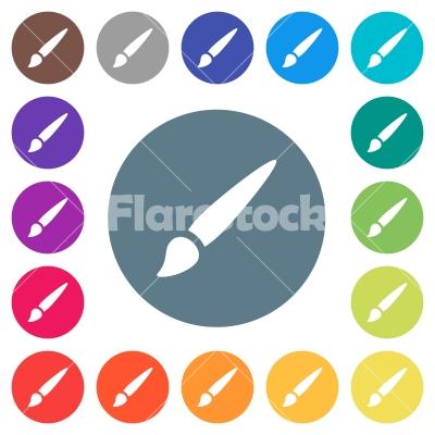 Brush flat white icons on round color backgrounds - Brush flat white icons on round color backgrounds. 17 background color variations are included.