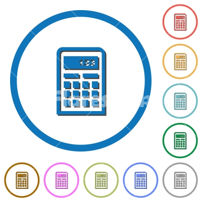 Calculator icons with shadows and outlines - Calculator flat color vector icons with shadows in round outlines on white background