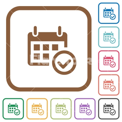 Calendar check simple icons - Calendar check simple icons in color rounded square frames on white background