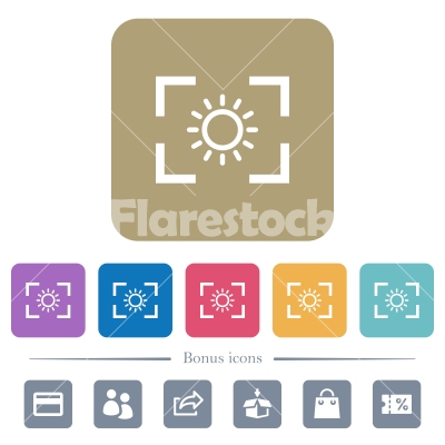Camera brightness setting flat icons on color rounded square backgrounds - Camera brightness setting white flat icons on color rounded square backgrounds. 6 bonus icons included