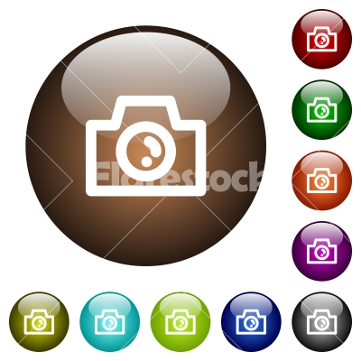 Camera color glass buttons - Camera white icons on round color glass buttons