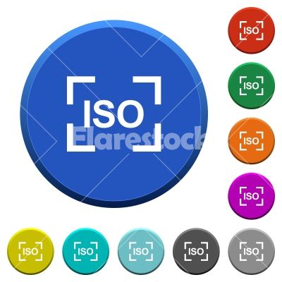 Camera iso speed setting beveled buttons - Camera iso speed setting round color beveled buttons with smooth surfaces and flat white icons