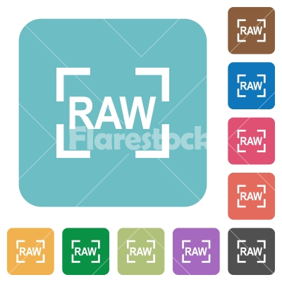 Camera raw image mode rounded square flat icons - Camera raw image mode white flat icons on color rounded square backgrounds