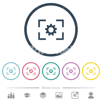 Camera setting flat color icons in round outlines - Camera setting flat color icons in round outlines. 6 bonus icons included.
