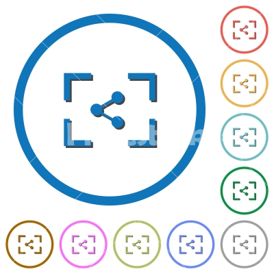Camera share image icons with shadows and outlines - Camera share image flat color vector icons with shadows in round outlines on white background