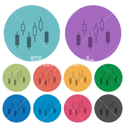 Candlestick chart color darker flat icons - Candlestick chart darker flat icons on color round background