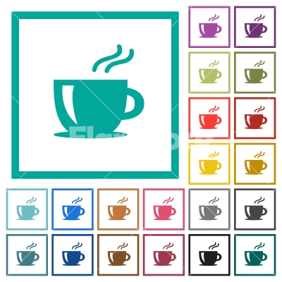 Cappuccino flat color icons with quadrant frames - Cappuccino flat color icons with quadrant frames on white background