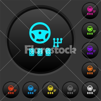 Car controls dark push buttons with color icons - Car controls dark push buttons with vivid color icons on dark grey background
