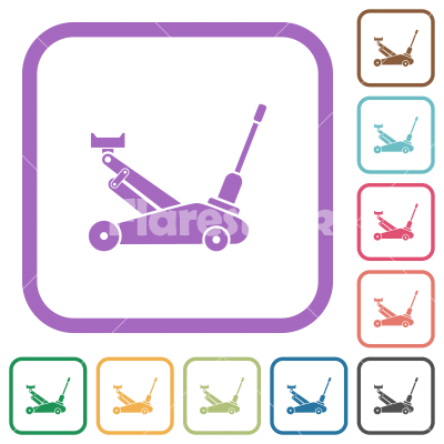Car jack simple icons - Car jack simple icons in color rounded square frames on white background