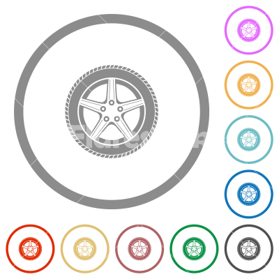 Car wheel flat icons with outlines - Car wheel flat color icons in round outlines on white background
