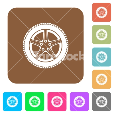 Car wheel rounded square flat icons - Car wheel flat icons on rounded square vivid color backgrounds.