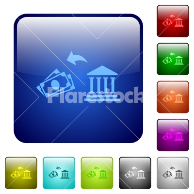 Cash withdrawal from bank color square buttons - Cash withdrawal from bank icons in rounded square color glossy button set - Free stock vector
