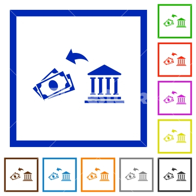 Cash withdrawal from bank flat framed icons - Cash withdrawal from bank flat color icons in square frames on white background
