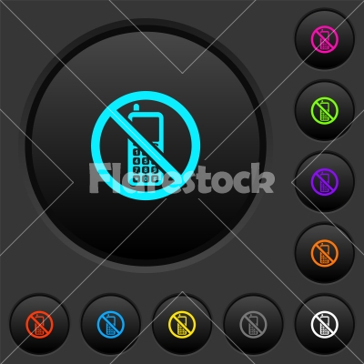 Cellphone not allowed dark push buttons with color icons - Cellphone not allowed dark push buttons with vivid color icons on dark grey background