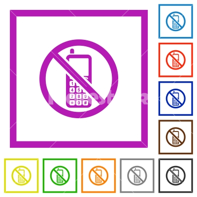 Cellphone not allowed flat framed icons - Cellphone not allowed flat color icons in square frames on white background