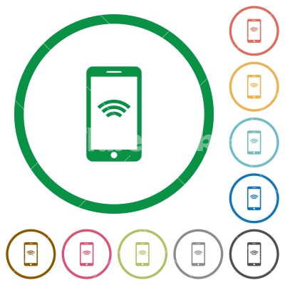 Cellphone with wireless network symbol flat icons with outlines - Cellphone with wireless network symbol flat color icons in round outlines on white background