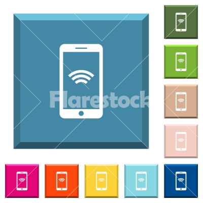 Cellphone With Wireless Network Symbol White Icons On Edged Square