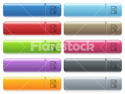 Certificate document icons on color glossy, rectangular menu - Certificate document engraved style icons on long, rectangular, glossy color menu buttons. Available copyspaces for menu captions. - Free stock vector