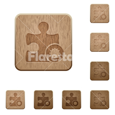 Certified plugin wooden buttons - Certified plugin on rounded square carved wooden button styles