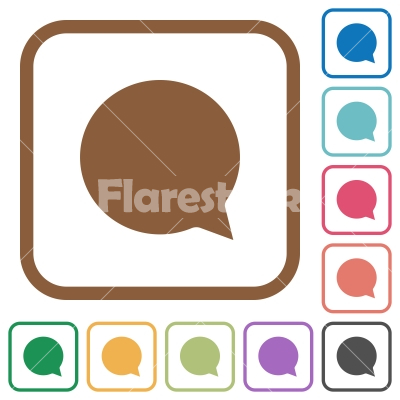 Chat simple icons - Chat simple icons in color rounded square frames on white background