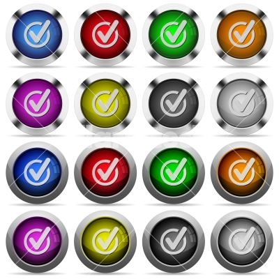 Checked data button set - Set of Checked data glossy web buttons. Arranged layer structure.