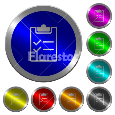 Checklist luminous coin-like round color buttons - Checklist icons on round luminous coin-like color steel buttons