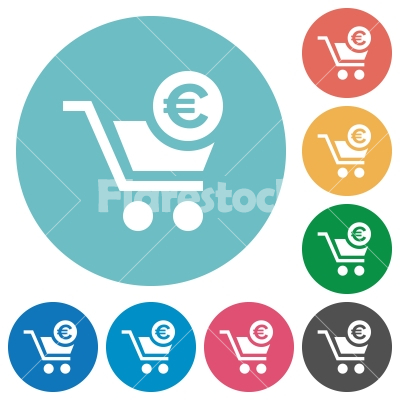 Checkout with Euro cart flat round icons - Checkout with Euro cart flat white icons on round color backgrounds - Free stock vector