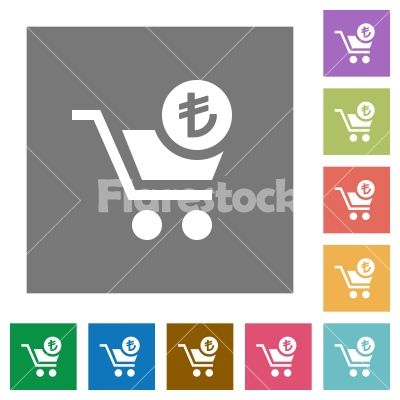 Checkout with Lira cart square flat icons - Checkout with Lira cart flat icons on simple color square backgrounds