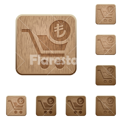 Checkout with Lira cart wooden buttons - Checkout with Lira cart on rounded square carved wooden button styles
