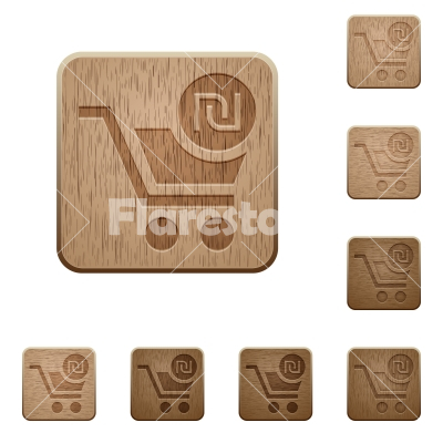 Checkout with new Shekel cart wooden buttons - Checkout with new Shekel cart on rounded square carved wooden button styles