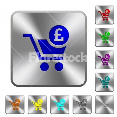 Checkout with Pound cart rounded square steel buttons - Checkout with Pound cart engraved icons on rounded square glossy steel buttons
