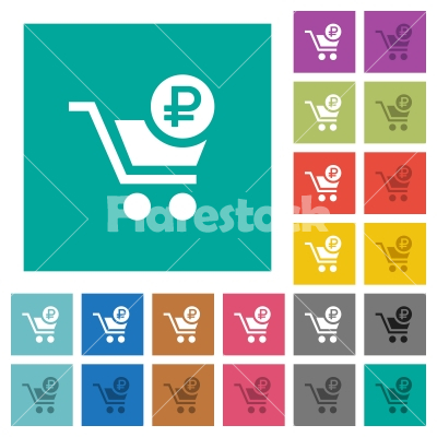Checkout with Ruble cart square flat multi colored icons - Checkout with Ruble cart multi colored flat icons on plain square backgrounds. Included white and darker icon variations for hover or active effects.