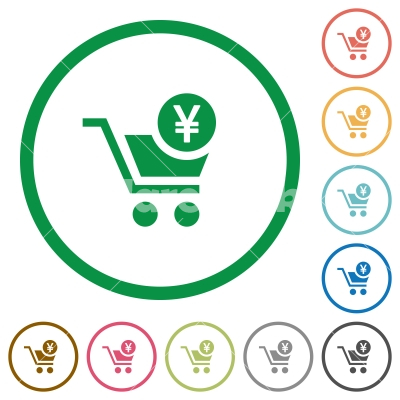 Checkout with Yen cart flat icons with outlines - Checkout with Yen cart flat color icons in round outlines on white background